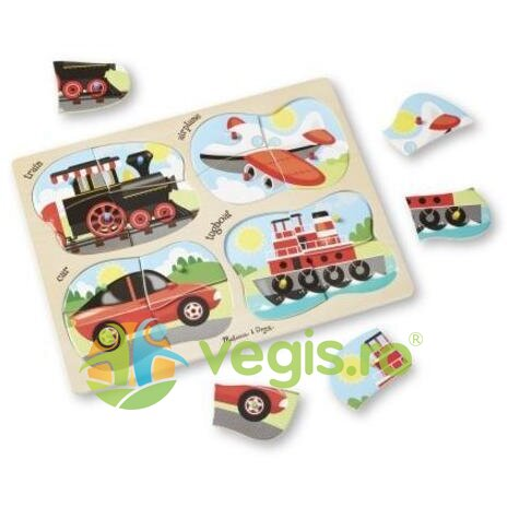 4 in 1 Peg puzzle, Vehicles. Puzzle lemn 4 in 1, Vehicule