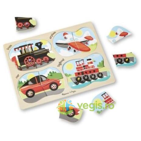 4 in 1 Peg puzzle, Vehicles. Puzzle lemn 4 in 1, Vehicule MELISSA AND DOUG