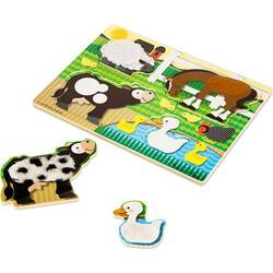 Touch and feel puzzle. Atinge si descopera, Animale de la Ferma MELISSA AND DOUG