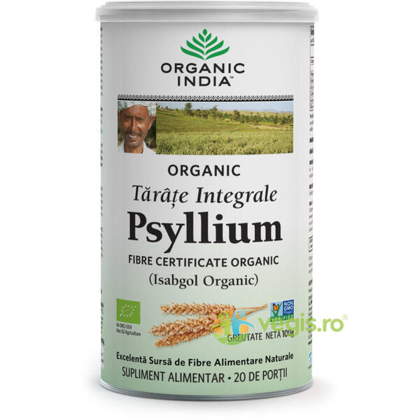Tarate de Psyllium Integrale Eco/Bio 100g ORGANIC INDIA