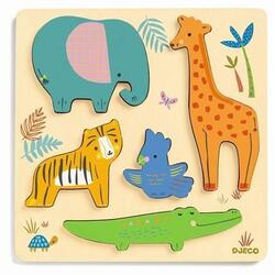 Puzzle Woodyjungle, Animale in relief DJECO