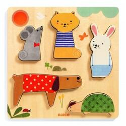 Puzzle Woodypets. Animale in relief DJECO