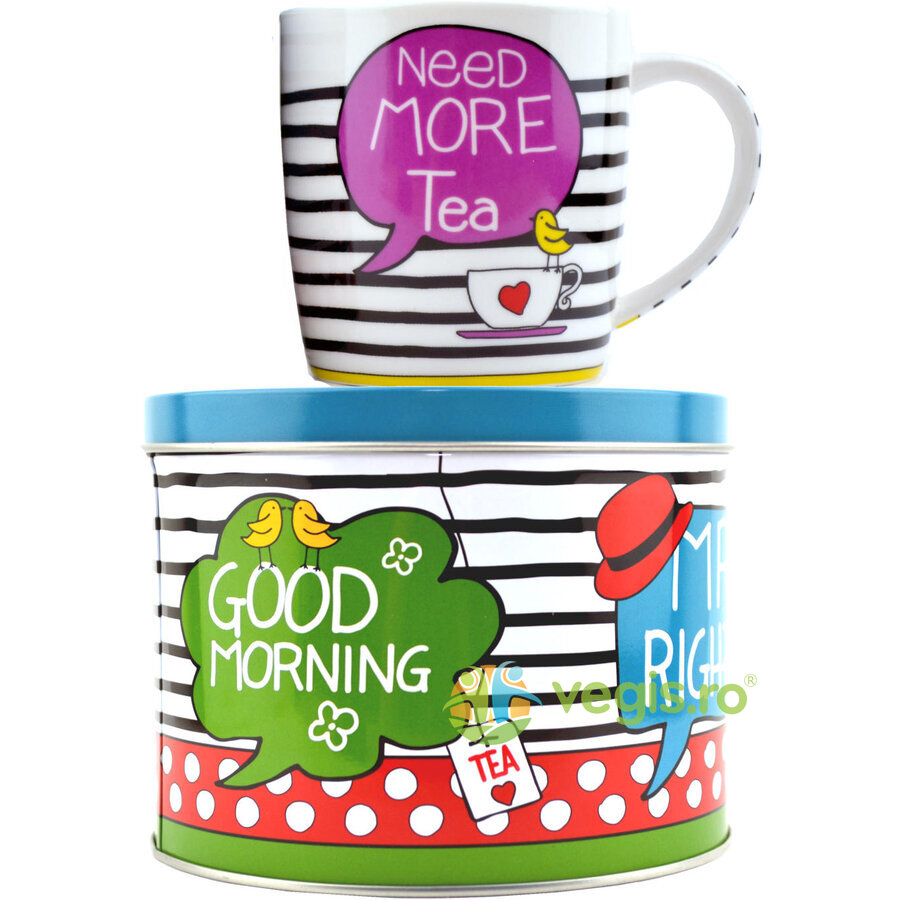 set ceai: cana de portelan + cutie metalica cu capac need more tea 300ml