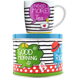 "Set Ceai: Cana De Portelan + Cutie Metalica Cu Capac ""Need more tea"" 300ml"