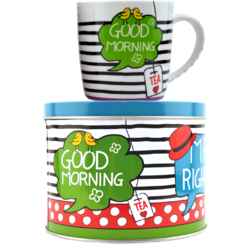 "Set Ceai: Cana De Portelan + Cutie Metalica Cu Capac ""Good morning"" 300ml"