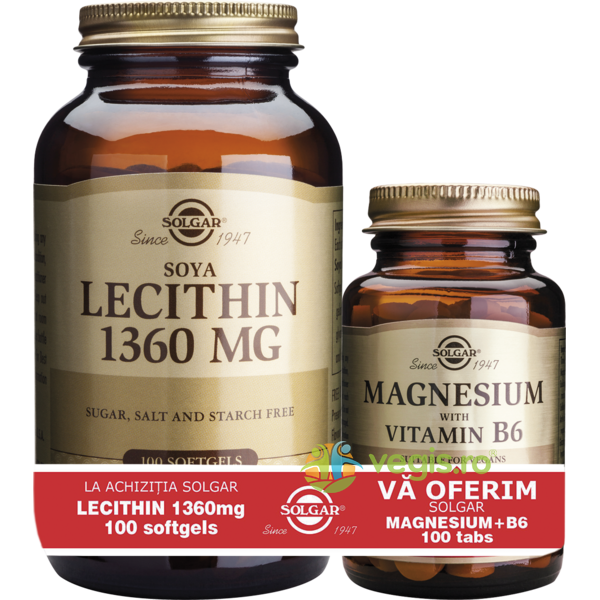 Lecithin 1360mg 100cps moi (Lecitina din soia) + Magnesium cu B6 100 tablete Pachet 1+1 SOLGAR