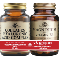 Collagen Hyaluronic Acid 120mg 30tb + Magnesium cu B6 100 tablete Pachet 1+1 SOLGAR