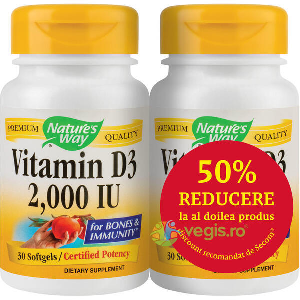Vitamina D3 2000ui (Adulti) 30cps Pachet 1+1-50% Gratis NATURE'S  WAY