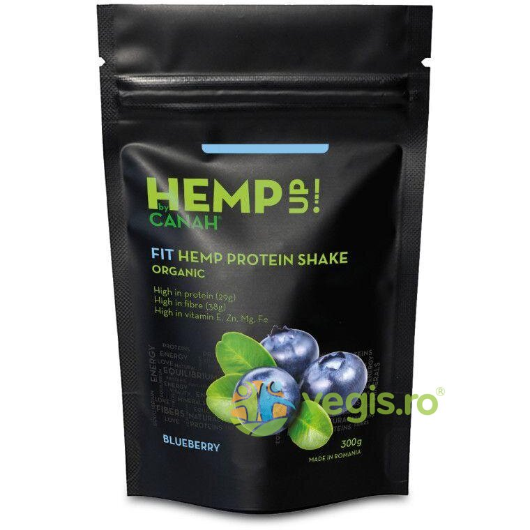 FIT Shake Proteic de Canepa si Afine Hemp Up Ecologic/Bio 300g thumbnail