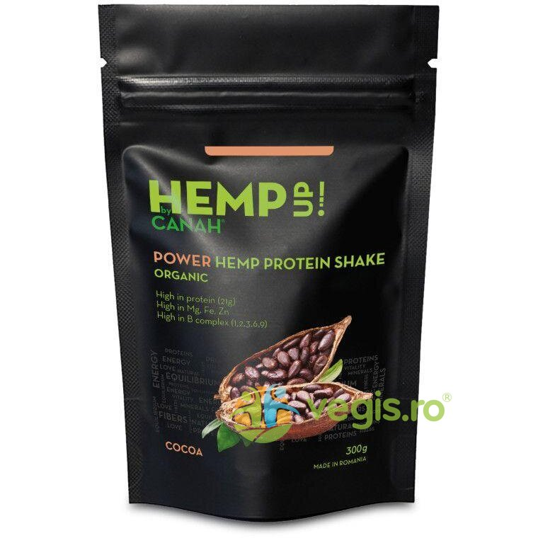 CANAH POWER Shake Proteic de Canepa si Cacao Hemp Up Ecologic/Bio 300g