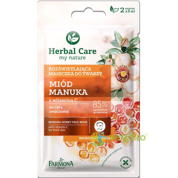 Herbal Care Masca Iluminatoare cu Miere de Manuka si Vitamina C 2x5ml FARMONA