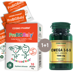 Pachet 1+1 ProBioBaby 10 plicuri + Omega 3-6-9 1000mg 30cps Premium COSMOPHARM