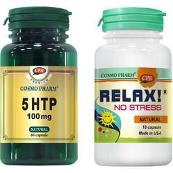 Pachet 1+1 Gratis: 5-HTP 100mg 60cps Premium + Relax! No Stress 10cps COSMOPHARM
