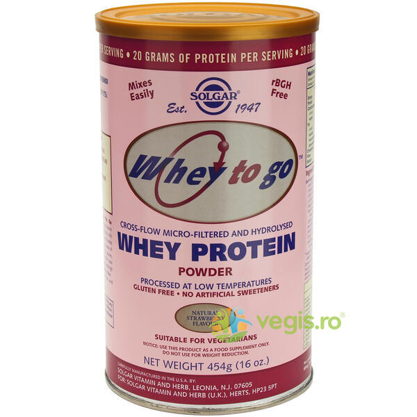 Proteine Whey To Go Capsuni Pudra 454g SOLGAR