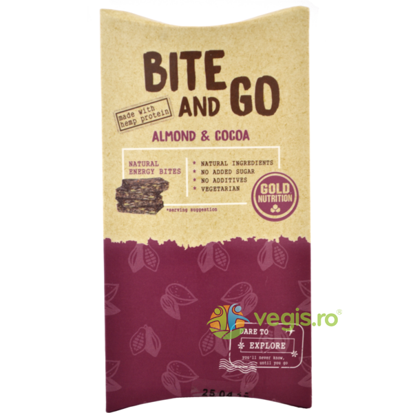 Gustare Bite and Go cu Migdale si Cacao 40g GOLD NUTRITION
