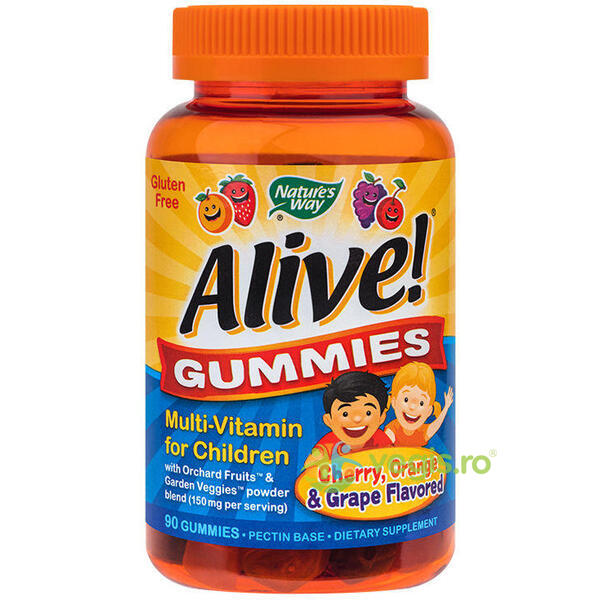 Alive Gummies Multi-Vitamin pentru Copii 90 jeleuri NATURE'S  WAY
