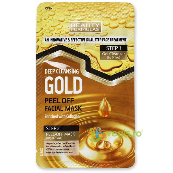 Masca de Fata in 2 Pasi Gold Peel Off 3g+10g BEAUTY FORMULAS