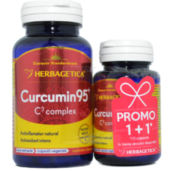 Curcumin 95 C3 Complex 60cps+10cps Pachet 1+1 Promo HERBAGETICA