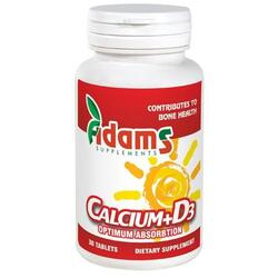 Calciu+Vitamina D3 (600mg+3mcg) 30tb ADAMS VISION