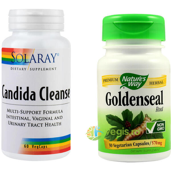 Candida Cleanse 60cps + Goldenseal 570mg 30cps Pachet VEGIS