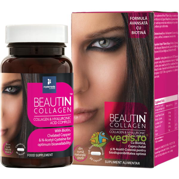 Beautin Colagen cu Acid Hialuronic si Biotina 30Cps MYELEMENTS
