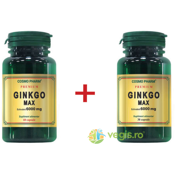Ginkgo Max Extract 120mg echiv. 6000mg Premium 60cpr+30cpr Pachet 1+1 COSMOPHARM