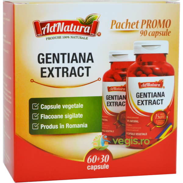 Gentiana Extract 60cps + 30cps - Pachet Promo ADNATURA