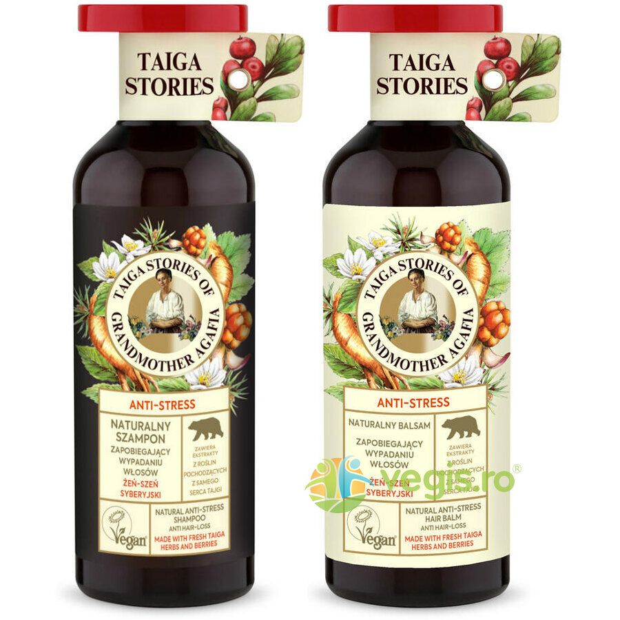Pachet Sampon si Balsam Natural Siberian Antistres cu Ginseng Siberian - Taiga Stories 500ml