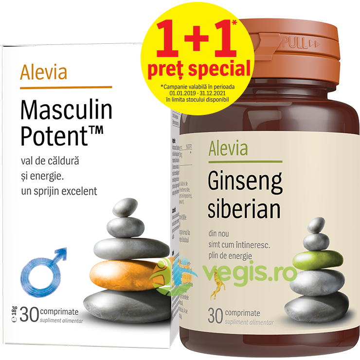 ALEVIA Masculin Potent 30cpr + Ginseng Siberian 30cpr