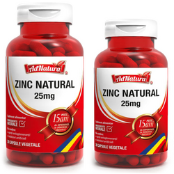 Zinc Natural 25mg Pachet 60cps+30cps ADNATURA