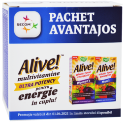 Alive! Men's Ultra 30tb + Alive! Women`s Ultra 30tb Pachet 1+1-50% NATURE'S  WAY