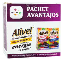 Alive! Men's 50+ Ultra 30tb + Alive! Women's 50+ Ultra 30tb Pachet 1+1-50% NATURE'S  WAY
