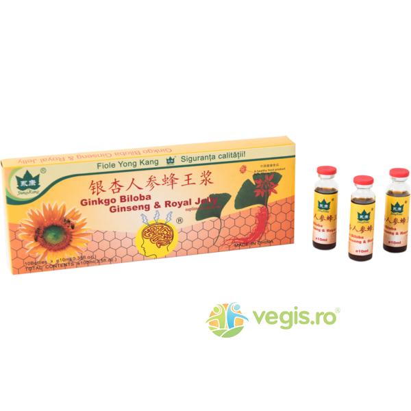 Ginkgo Biloba + Ginseng + Royal Jelly  1000+200+300mg 10fiole*10ml YONG KANG