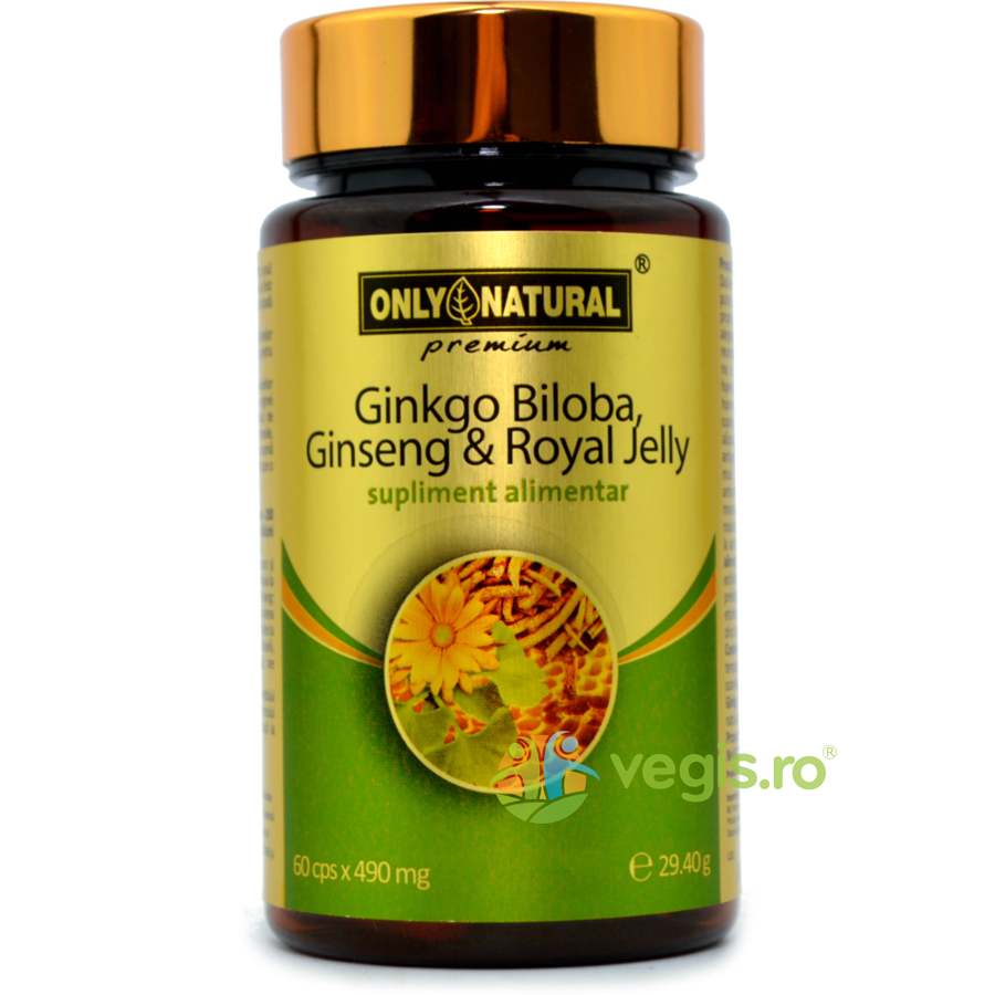 Ginkgo Biloba + Ginseng + Royal Jelly 490mg 60cps thumbnail