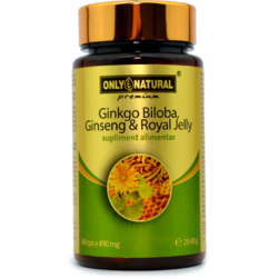 Ginkgo Biloba + Ginseng + Royal Jelly 490mg 60cps ONLY NATURAL