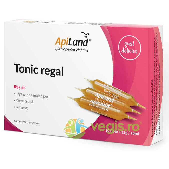 APILAND Tonic Regal 10 Fiole - Laptisor pur, miere si ginseng