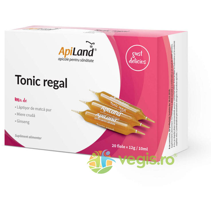 APILAND Tonic Regal 20 Fiole - Laptisor pur, miere si ginseng