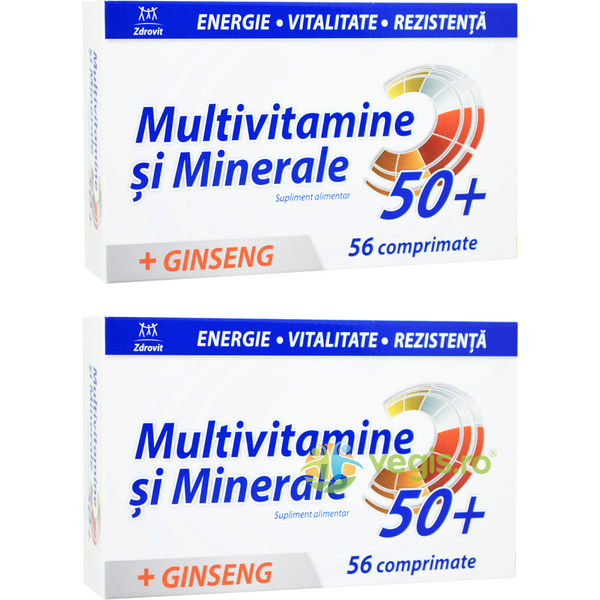 Multivitamine si Minerale + Ginseng 50+ 56cpr+56cpr ZDROVIT